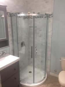 corner shower with whit tile