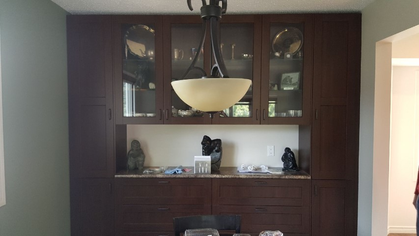 dark cabinets with glass paneling