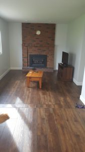 living room with dark hard wood flooring