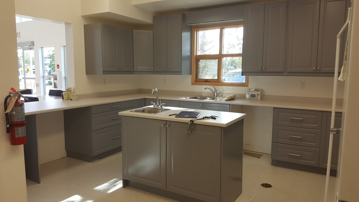 gray cabinets with simple white cabinets