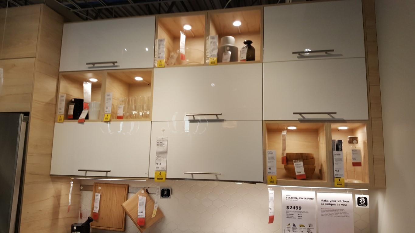 white and glass block style wall cabinets from ikea