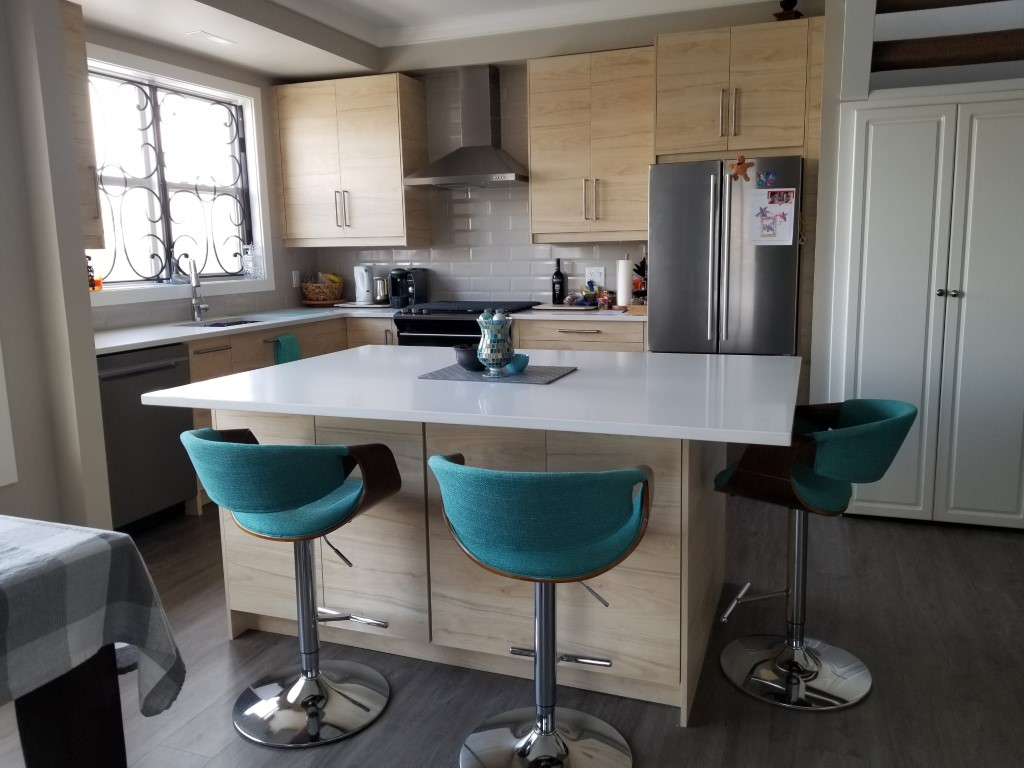 blue-green bar stools in a modern designed kitchen